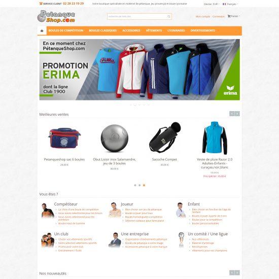 PetanqueShop : page d'accueil