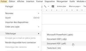 Enregistrer Google Slides au format PDF