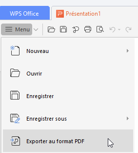 Enregistrer au format PDF dans WPS
